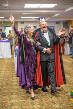 RAOCMardiGras2016-King and Queen Greet Their Subjects