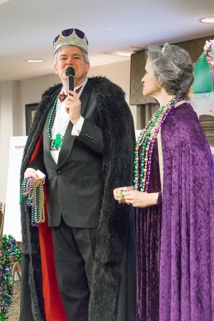 RAOC Mardi Gras 2016-Queen watches King Address Crowd with Mike